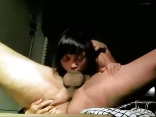 Asian girl gives a blowjob with forcing deepthroat (edit)