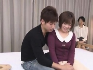 Japanese guardianship in white stockings gives amazing blowjob