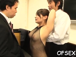 Unvarnished office soul mate gets manhandled by her lustful colleagues