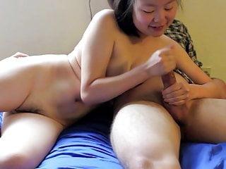 Korean Cum Whore, Justine Lim, Stroking a white Bushwa