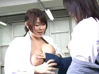 Busty young Asian lesbians sucking on nipples and licking on pussies