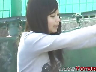 Athletic Japanese teen filmed changing clothes by voyeur POV