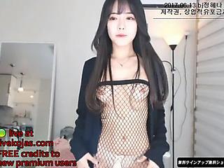 Korean hawt camgirl fro fishnet hose