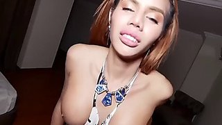 Cute thai ladyboy striptease and bareback fuck pov