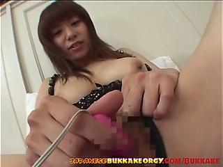 Cute japanese playgirl receives cum overspread japanese bukkake fuckfest