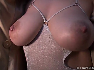 Japanese doxy sticks sex toy in her haity vagina
