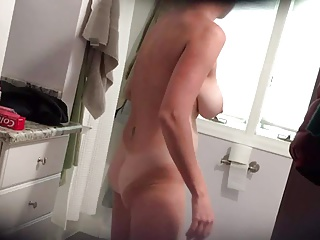 Hawt wife respecting massive chest in support be fitting of shower