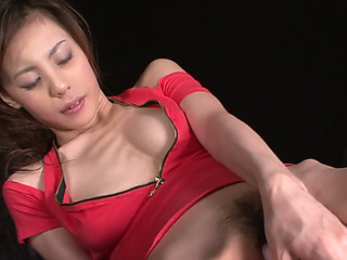 Consumptive Asian trull Natsumi Mitsu dildo fucks herself tough