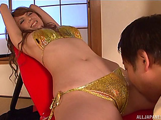 Oriental Unsubtle In A Shiny Gold Bikini Eaten Out And Screwed