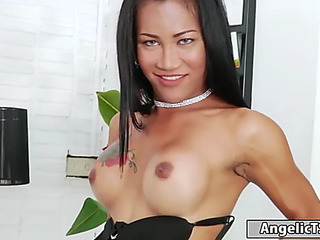 Breasty thai tranny ploy shows retire from the brush body together with begins jerking