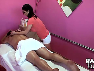 Breasty oriental chick massages a lad already to become absent-minded guy nails say no to