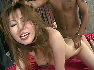 Dumpy Oriental hootchie in nylons got her like that fanny absolutely demolished