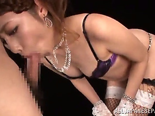 Terrific oriental honey almost fishnet nylons giving a steamy oralstimulation