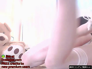 Korean hottest legal age teenager in white nylons