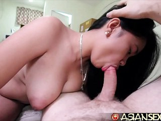 Asian Copulation Diary - Titillating young MILF gets big white cock