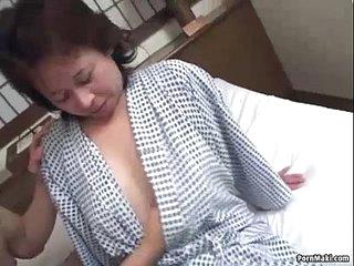 Asian granny enjoys threesome bonking