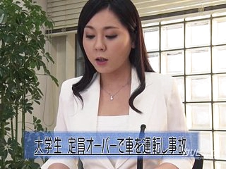 Asian News Reader Fingered While On Cam