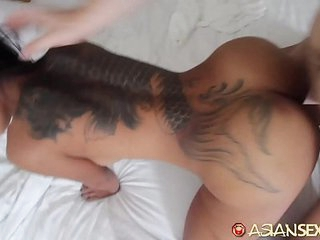 Asian Coitus Diary - Slutty looking Asian gets fucked by big sallow cock
