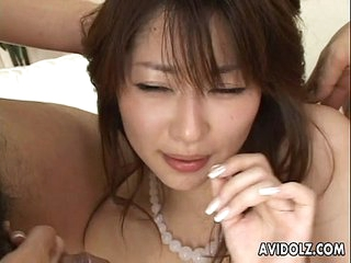 Hairy pussy Asian babe with copy cock sucking
