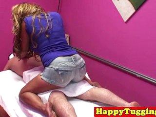 Asian spycam masseuse tugs dick