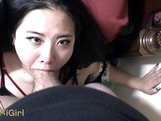 asian girl INTENSE pov facefucking blowjob with FACIAL cumshot sukisukigirl Andy Savage