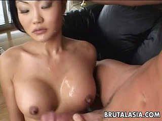 Asian brunette whore sucks added to gets exasperation fucked real rough