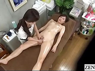 Japanese lesbian massage be fitting of stark naked and oiled up college partisan with English subtitles