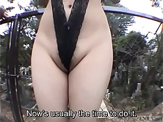 Subtitled JAV advance a earn nudity string bikini graveyard blowjob