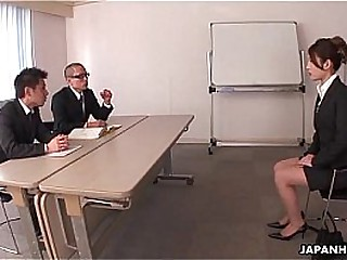 Cissified asian occupation applicant fucked by two horny managers