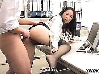Asian lady shagged by duo coworkers in her office