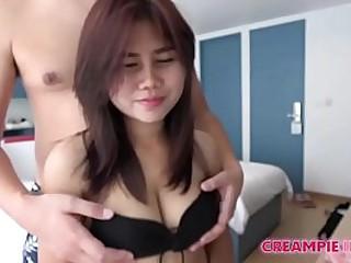 Japanese man creampies Asian girl with big asleep on the job boobs