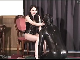 Japanese dominatrix Saran whipping and saliva