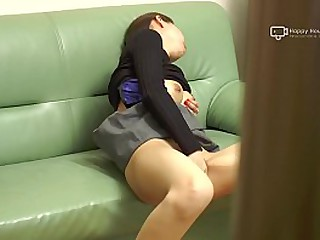 Japanese MILF Miku Fucks Herself On Couch (Uncensored)