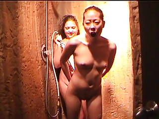 Two young, sexy chicks own up up, shave in the shower