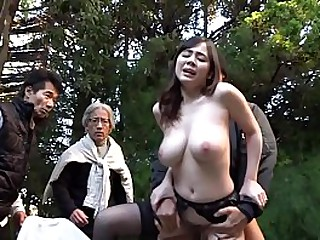 Cheating Japanese wife in garter belt and nothing under other circumstances has brazen outdoor sex in a garden while passersby watch starring pale and busty JAV star Aimi Yoshikawa in HD with English subtitles