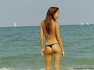 Asian teen in a thong bikini!