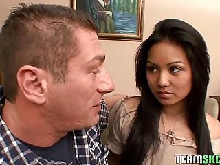 Teamskeet Asian elfin teen Lana Violet hardcore fucking facial cumshot