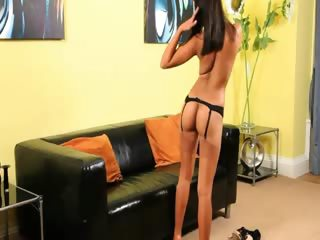 chinese pussy on black couch