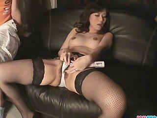 Manami Komukai In Stockings Masturbating