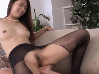 Asian ravelled nylon wearing coddle squirts