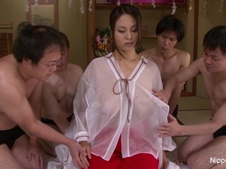 Japanese girl with successfully cans takes on 4 cocks