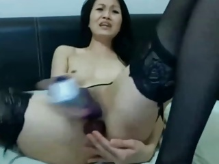 Thai Unsubtle Just about Stockings Fucking Yourselves With Dildos