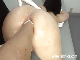 Extreme slut fisted in will not hear of huge gaping arse