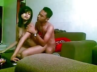 indonesian girl fucked  on the sofa